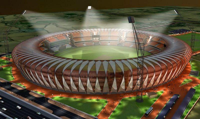 The architectural design of Gwalior International Cricket Stadium of India