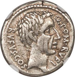 Q. Pompeius Rufus (ca. 54 BC). AR denarius (18mm, 3.86 gm, 5h). NGC VF 4/5 - 4/5