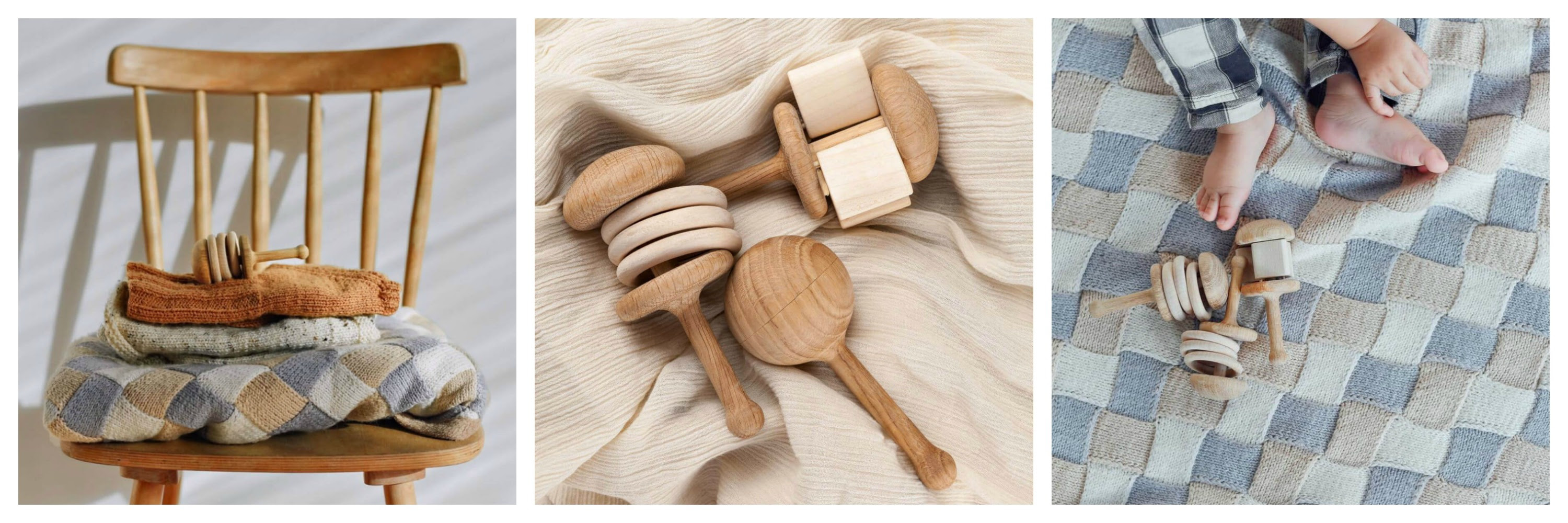 wooden baby rattle on chair