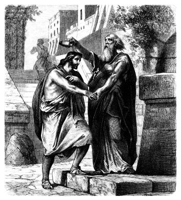 Illustration of Samuel anointing Saul as king.