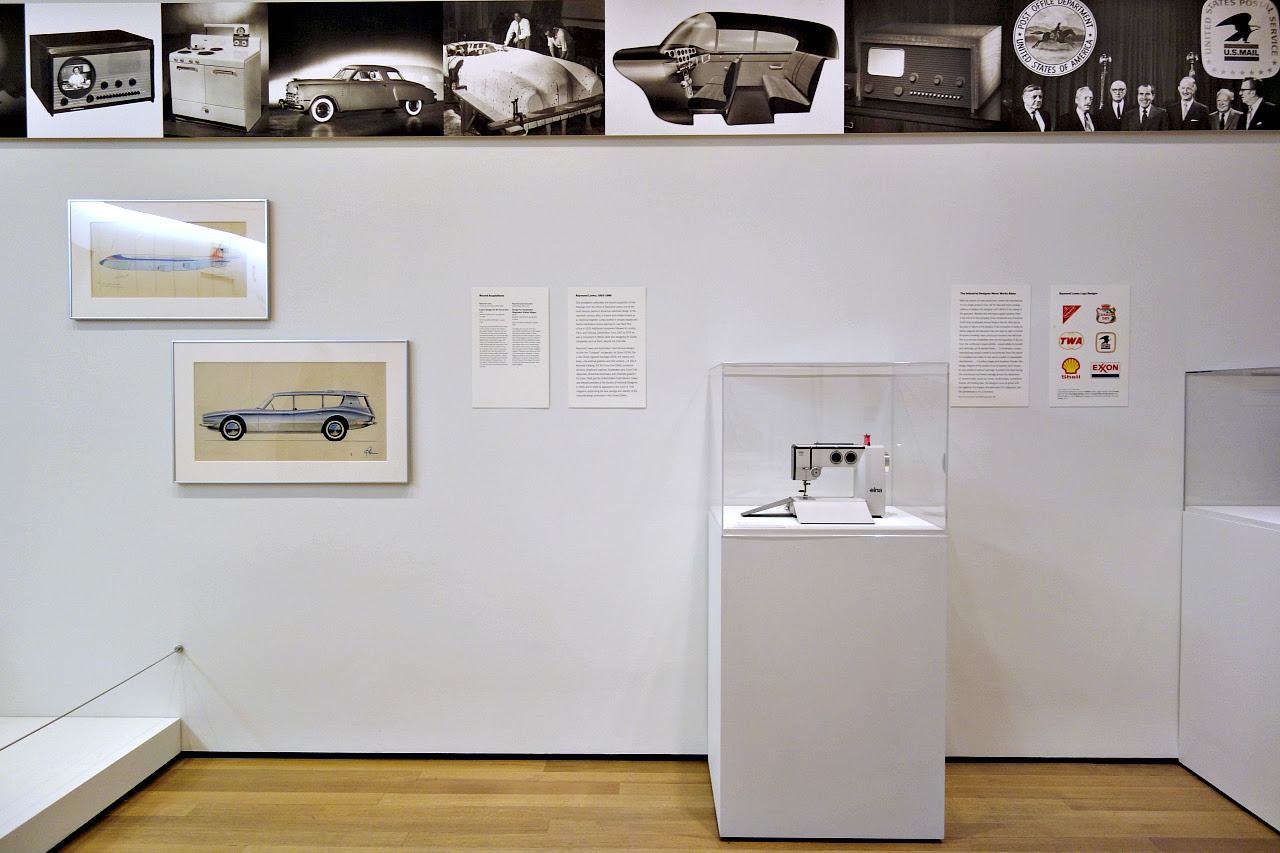 Installation view of design by Raymond Loewy at MoMA