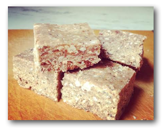 Peanut Butter Pecan Protein Bar with Coconut, Flax Seed, Chia Seeds, and Dates