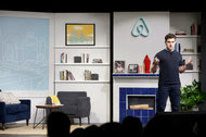 Brian Chesky, chief executive of Airbnb, during a presentation in April. The company is said to have allowed employees to sell their stock in the start-up, but with restrictions.