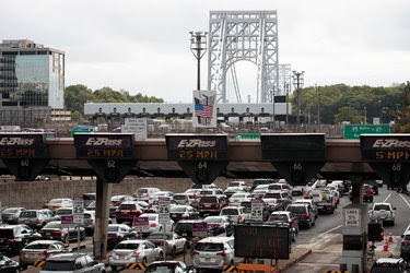 Traffic approaching the George Washington Bridge in Fort Lee, N.J., this month. The opening arguments started on Monday in the trial that stemmed from the closing of access lanes to the bridge in 2013.