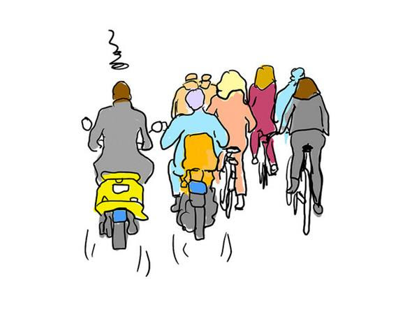 Scooters op het fietspad