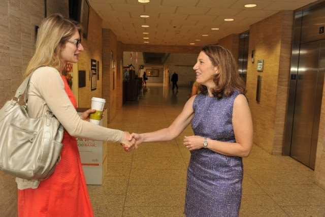 Secretary Burwell greets employees on her first day at HHS, June 9, 2014.