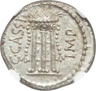Ancients: C. Cassius Longinus, Assassin and Imperator (died 42 BC). AR denarius (18mm, 3.71 gm, 6h). NGC MS 5/5 - 3/5