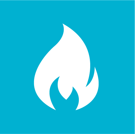 A flame on blue background