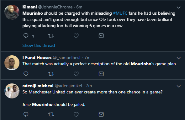 Jose Mourinho was dragged on Twitter as United beat Tottenham (Twitter)