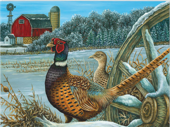 A painting of a pheasant in a field.