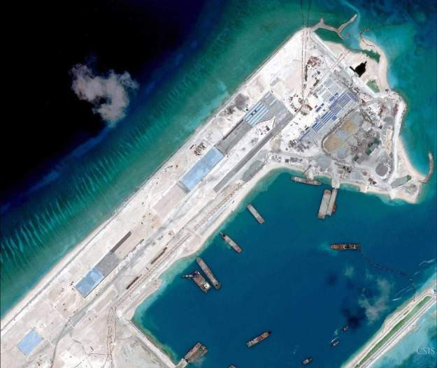 Airstrip construction on the Fiery Cross Reef in the South China Sea is pictured in this April 2, 2015.