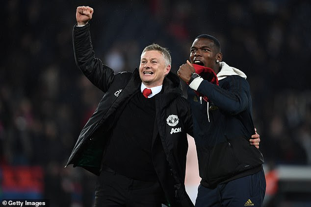 Ole Gunnar Solskjaer and Paul Pogba were in a joyous mood after the game against PSG [Getty Images]
