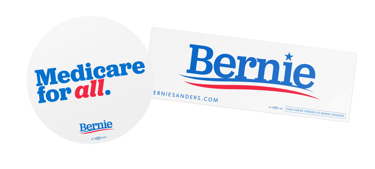 Medicare for All car magnet and Bernien bumper sticker