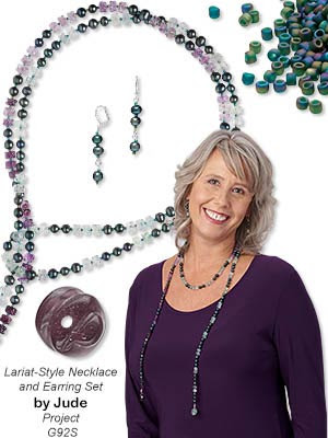 Lariat-Style Necklace and Earring Set with Rainbow Fluorite Gemstone Beads, Cultured Freshwater Pearls and Dyna-Mites Seed Beads