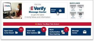 E-Verify user homepage display with case alerts.