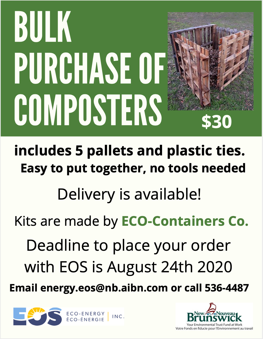 Includes 5 pallets and plastic ties. Easy to put together, no tools needed. Delivery is available! Kits are made by Eco-Containers Co. Deadline to place your order with EOS is August 24th, 2020. Email energy.eos|@nb.aibn.com or call 536-4487.
