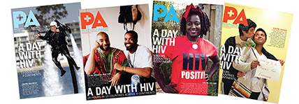 Covers of four issues of the magazine, Positively Aware, featuring 'A Day With H I V'