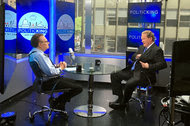 """Larry King, left, with Ed Schultz in June on the set of Mr. King's show, """"Politicking."""""""