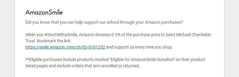AmazonSmile Did you know that you can help support our school through your Amazon purchases? When...