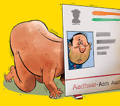 Image result for cartoon regarding aadhar terror
