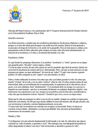 La carta del Papa a Scholas