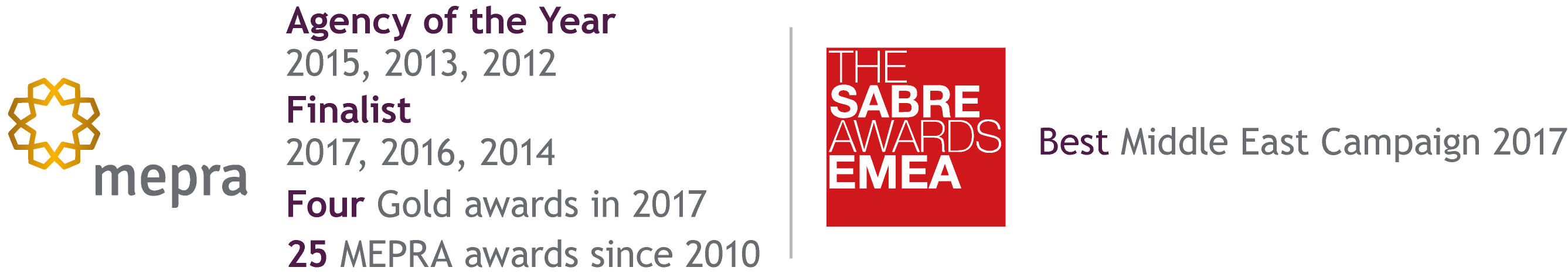 MEPRA Award winners - SABRE Awards EMEA winner