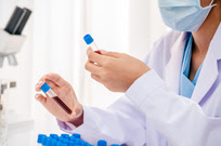 Scientist working with blood samples