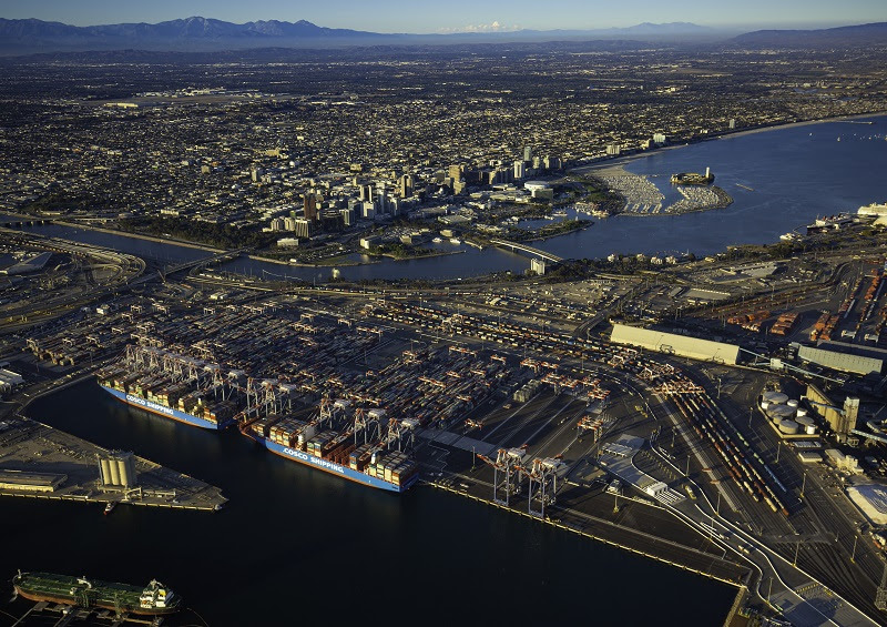 Two ships are seen here berthed at Long Beach Container Terminal on June 30, 2021.