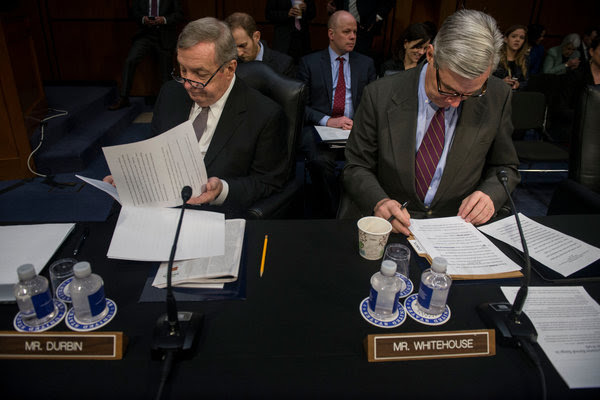 Senators Richard J. Durbin of Illinois, left, and Sheldon Whitehouse of Rhode Island are among the Democrats planning to filibuster the nomination of Judge Neil M. Gorsuch.