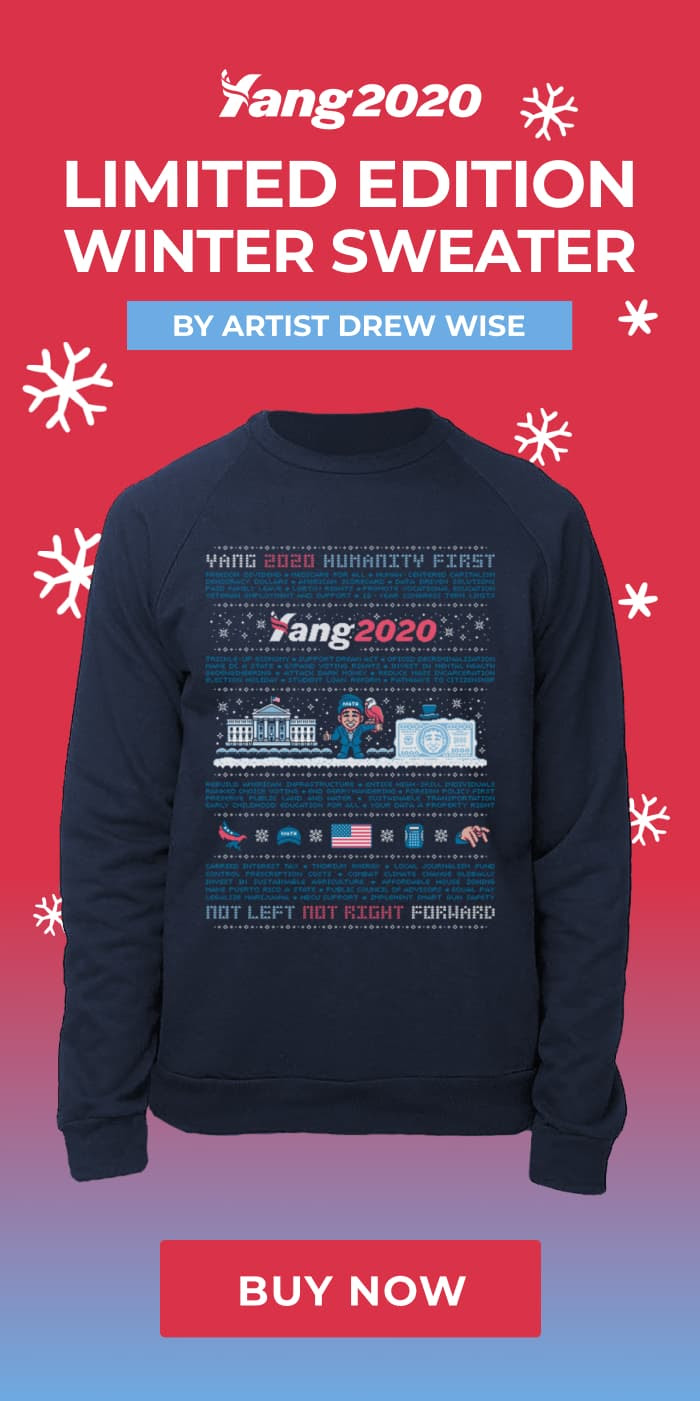 Limited Edition Winter Sweater by artisit Drew Wise. Navy sweater with Yang2020 winter art. Buy now