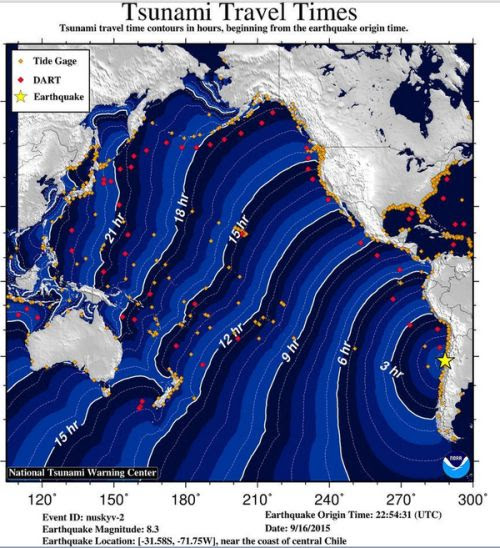 Tsunami travel time