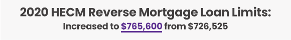 2020 HECM Reverse Mortgage Loan Limits:  Increased to $765,600 from $726,525