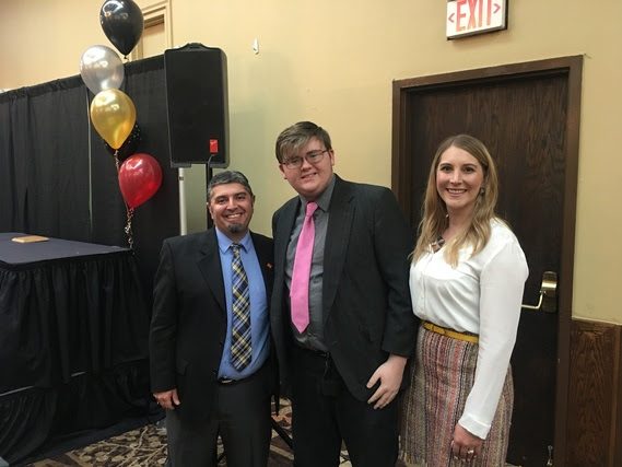 Megan Degenfelder and Ray Pacheco pose with Casper GEAR UP Youth of the Year, John Dunkerley.