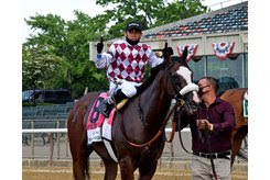Tiz the Law and jockey Manny Franco after winning the Belmont Stakes at Belmont Park