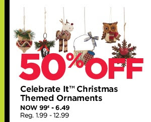 50% Off Celebrate It Christmas Themed Ornaments