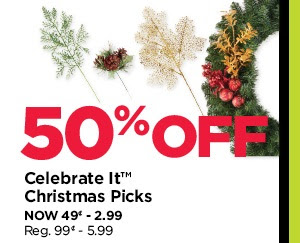 50% Off Celebrate It Christmas Picks