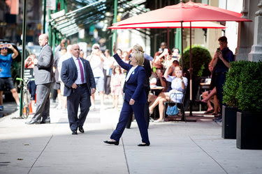 Hillary Clinton leaving Chelsea Clinton's apartment in New York City on Sept. 11.