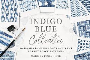 80 Indigo Blue Watercolor Patterns