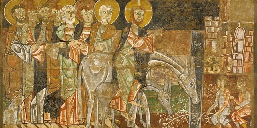 Jesus' Entry into Jerusalem (Entrada de Jesús en Jerusalén) (detail), Master of San Baudelio of Berlanga, Soria, Spain, 1125, Indianapolis Museum of Art, Indianapolis, Indiana.