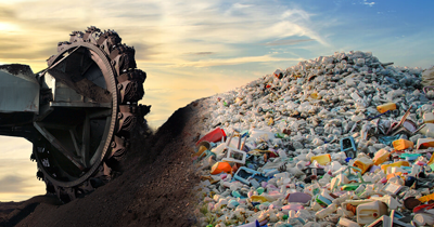 A digitally altered imagine showing coal excavtor digging up coal alongside a large pile of plastic waste
