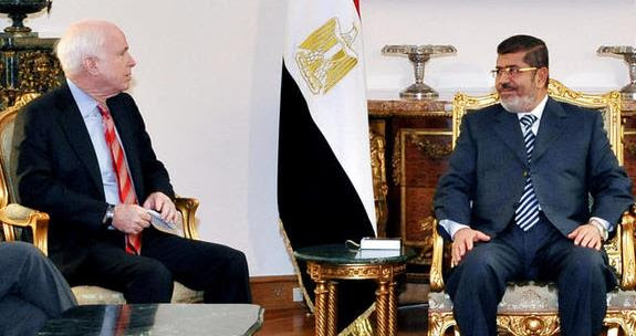 Senator John McCain and Muslim Brother former Egyptian President Mohamad Morsi