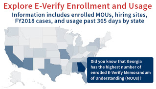 Map of United states and  E-Verify Enrollment and Usage