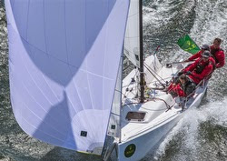 J/70 sailors having fun- sailing in planing mode