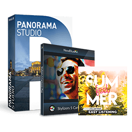 Panorama Studio 3.2 (worth: US$39,95), one NewBlue effects package (worth: US$99) and the Summer Feel Song Collection (worth: US$6,99).