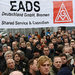 Workers protested against expected job cuts outside the EADS manufacturing plant in Bremen, Germany, last month.