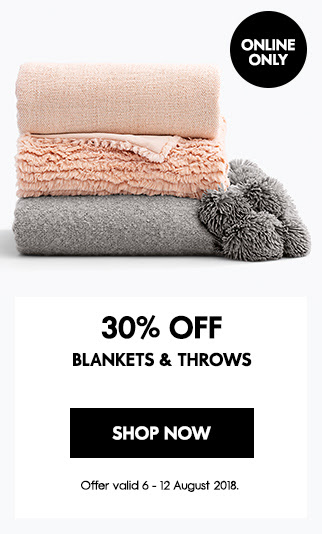 30% off blankets & throws