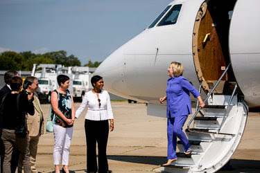 Hillary Clinton spoke to guests on the tarmac at Cincinnati Municipal Lunken Airport before speaking at the American Legion National Convention in Cincinnati on Wednesday.