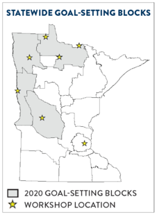 deer goal setting blocks map showing northwest and western areas of Minnesota with stars where the meetings are