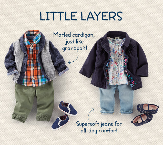 Little layers | Marled cardigan, just like grandpa`s! | Supersoft jeans for all-day comfort.