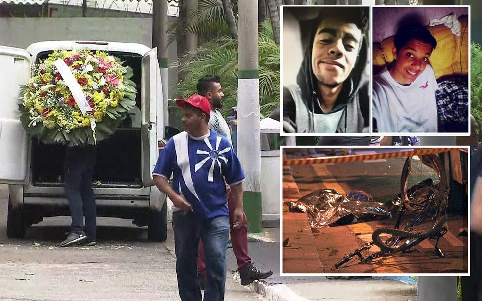 Corpos de Vitor Manoel e Vitor Luis foram enterrados neste domingo (Foto: TV Globo/Reprodução)